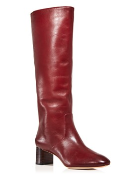 0027c527abbcb Loeffler Randall - Women s Gia Pointed Toe Knee-High Leather Mid-Heel Boots  ...