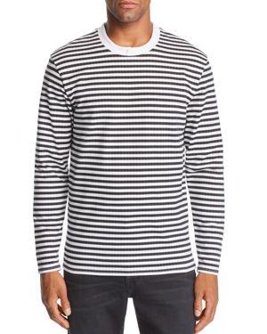 VITALY Tonal Herringbone Striped Long-Sleeve Tee in Black White