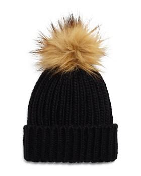 98678c25375 V Fraas - Girls  Faux-Fur Pom Hat