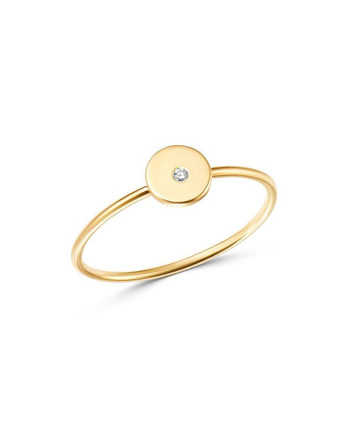 Zoë Chicco - 14K Yellow Gold Diamond Disc Stacking Ring