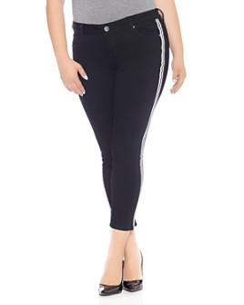 SLINK Jeans Plus - Double-Stripe Skinny Ankle Jeans in Black