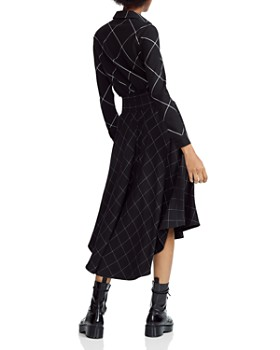 Maje - Ralek Checked Asymmetric Midi Shirt Dress