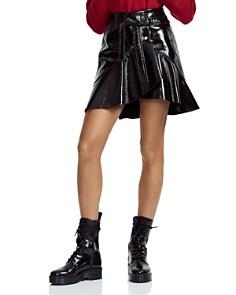 Maje - Janak Ruffled Patent Leather Wrap Skirt