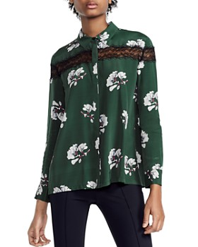 Maje - Ciloise Floral-Print Lace-Inset Shirt