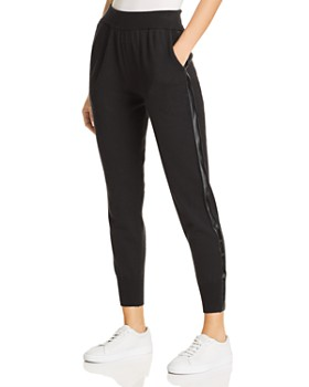 Donna Karan - Faux Leather Trim Jogger Pants