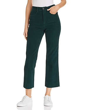 rag & bone/Jean Dylan Cropped Flared Corduroy Jeans in Bottle Green