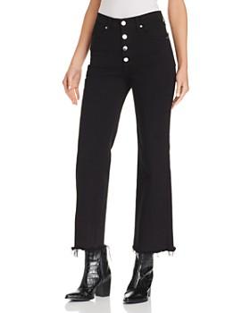 rag & bone/JEAN - Justine Frayed Ankle Wide-Leg Jeans in Black