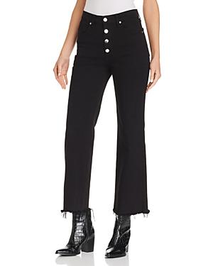 rag & bone/Jean Justine Frayed Ankle Wide-Leg Jeans in Black