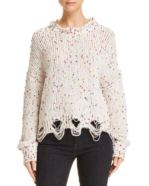 HONEY PUNCH Dotted Chenille Sweater in White