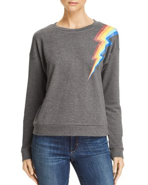 HONEY PUNCH Rainbow Lightning Bolt Sweatshirt in Charcoal