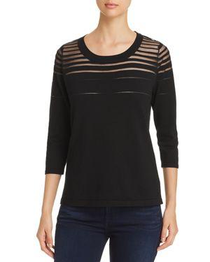AVEC Sheer Mesh Stripe Top in Black