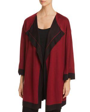 AVEC Color Block Duster Cardigan in Red/Black