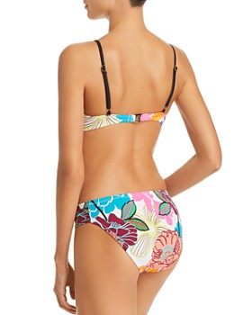Trina Turk - Radiant Blooms Bralette Bikini Top, Radiant Blooms Shirred Side Hipster Bikini Bottom & Radiant Blooms Pareo Swim Cover-Up