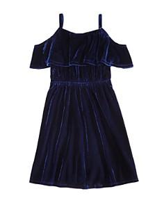 AQUA - Girls' Cold-Shoulder Popover Velvet Dress, Big Kid - 100% Exclusive