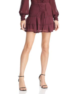 Bardot Anna Lace-Up Tiered Mini Skirt - 100% Exclusive