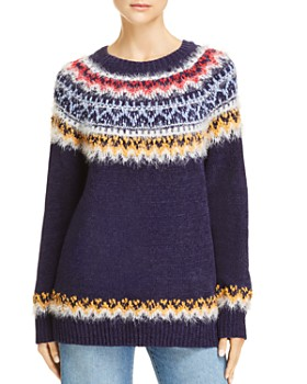 AQUA - Fair Isle Eyelash Chenille Sweater - 100% Exclusive
