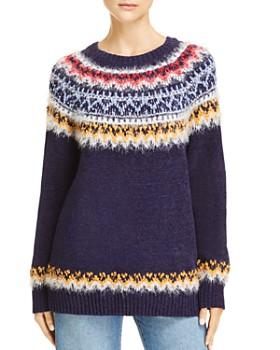 AQUA - Fair Isle Eyelash Chenille Sweater - 100% Exclusive