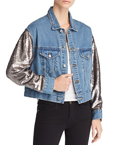 Sunset & Spring - Sequin Sleeve Denim Jacket - 100% Exclusive