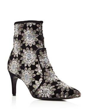 Women'S Pointed Toe Floral Firework Embroidered Booties, Silver/Black