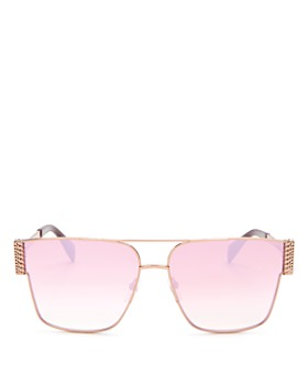 6a54a4465c Moschino - Women s Mirrored Brow Bar Flat Top Square Sunglasses