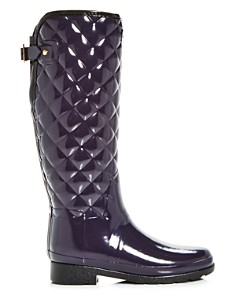 Hunter - Women's Refined Gloss Quilted Rain Boots