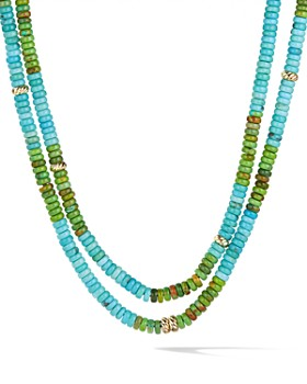 David Yurman - Tweejoux Necklace in 18K Yellow Gold with Turquoise