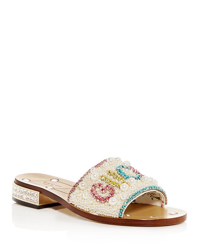 f85beea3d8fc Gucci Women s Lupe Embellished Low-Heel Slide Sandals