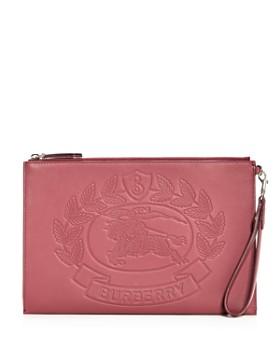 Burberry - Edin Embossed Crest Leather Wristlet Pouch