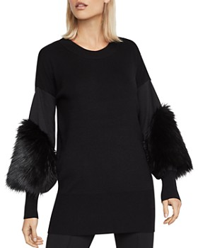 BCBGMAXAZRIA - Faux-Fur-Cuff Tunic Sweater