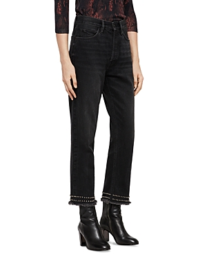 Allsaints Ava High-Rise Straight-Leg Jeans in Washed Black