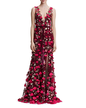 Marchesa Notte Embroidered Floral-Appliqué Gown