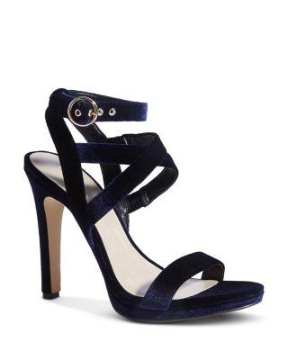 Strappy Velvet High-Heel Sandals
