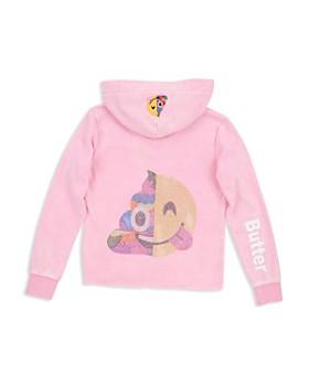 Butter - Girls' Emoji Embellished Hoodie - Big Kid