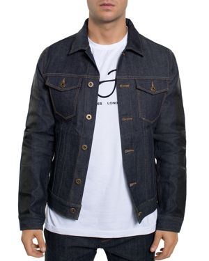 Sean John Striped-Sleeve Denim Jacket