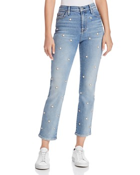 7 For All Mankind - Edie Embellished Crop Straight Jeans in Luxe Vintage Flora