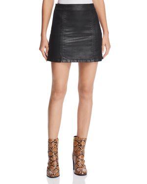 Ag Adaline Coated Denim Mini Skirt in Leatherette Super Black