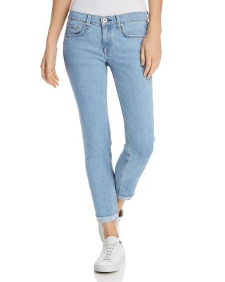 Rag U0026 Bone/JEAN   Dre Slim Frayed Ankle Boyfriend Jeans In Clean Judi