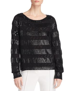Melita Sequined Pointelle Sweater in Black