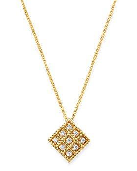 "Roberto Coin - 18K Yellow Gold Byzantine Barocco Diamond Pendant Necklace, 16"""