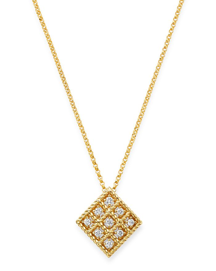 Roberto Coin 18K YELLOW GOLD BYZANTINE BAROCCO DIAMOND PENDANT NECKLACE, 16