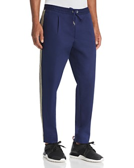 Moncler - Stripe-Trimmed Tailored Straight Fit Pants