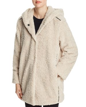 CAPOTE Teddy Faux-Fur Hooded Jacket in Sand