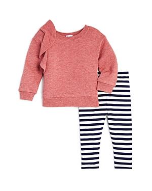 Splendid Girls Ruffled Sweatshirt  Striped Leggings Set  Baby