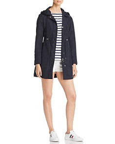 Moncler - Anthemis Rain Coat, Nautical Stripe Bell-Sleeve Top & Logo Shorts