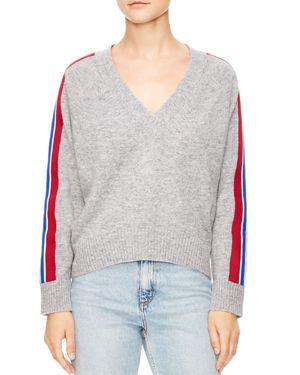 Sandro Briona Striped-Sleeve Sweater