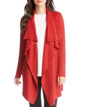 KAREN KANE Drape-Front Long Cardigan in Red