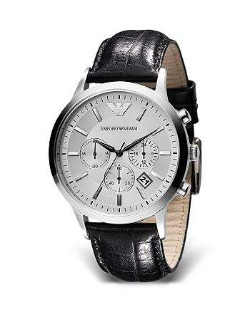 Emporio Armani - Round Chronograph Watch with Black Strap, 43mm