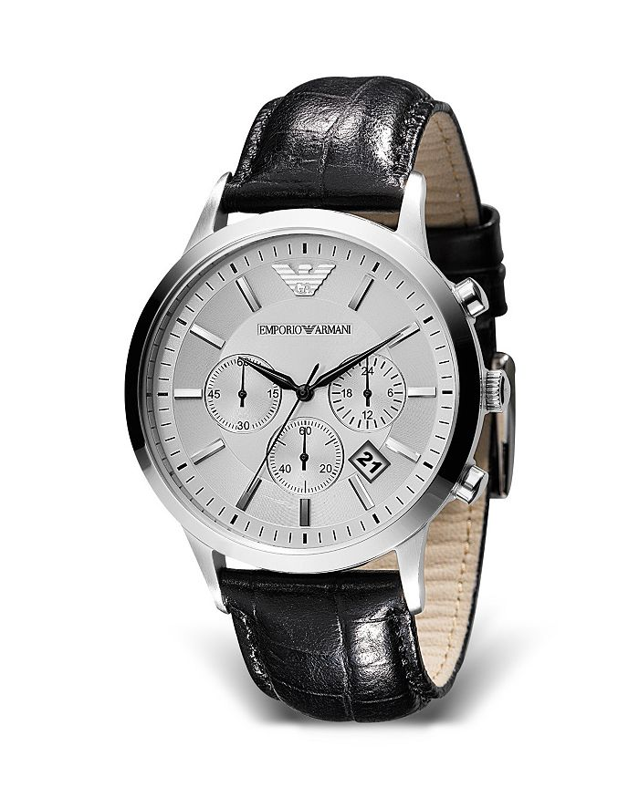 Armani - Round Chronograph Watch with Black Strap, 43mm