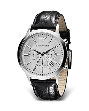 Emporio Armani Round Chronograph Watch with Black Strap, 43mm