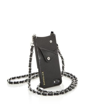 BANDOLIER Lucy Leather Iphone Crossbody in Black/Silver